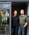 Jane Davies & Alex Bethall, Frome, Somerset with their new Bi fold Door