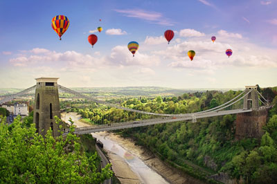 Bristol's Clifton Suspension Bridge with Balloons