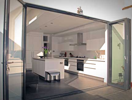 Bifold Doors on aluminum sliding window